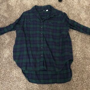 BDG Green and blue plaid oversized flannel